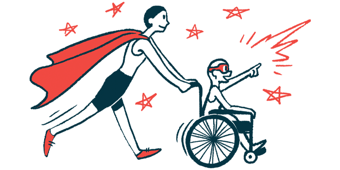 rare disease clinical trial participants | ANCA Vasculitis News | Illustration of woman in cape pushing child in wheelchair